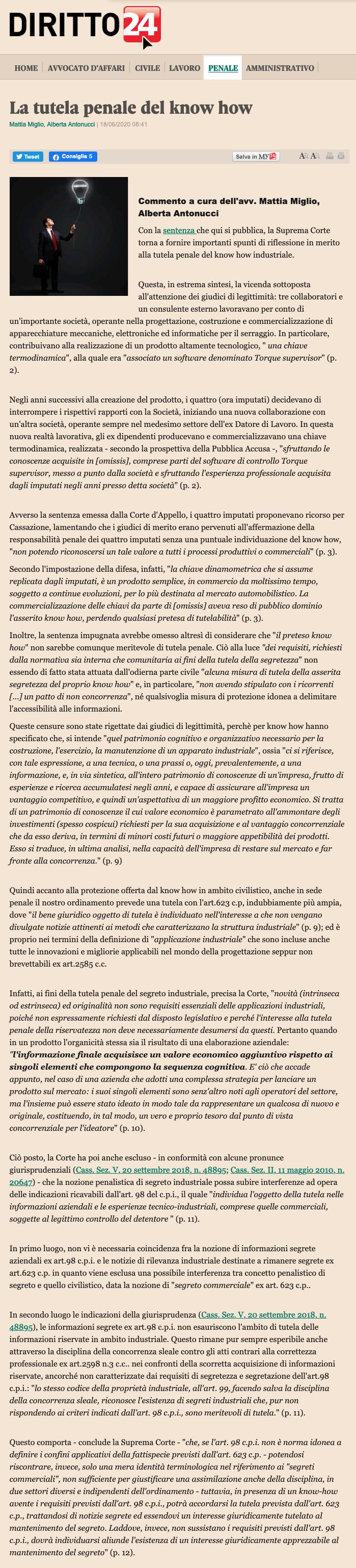 tutela penale del know how diritto24