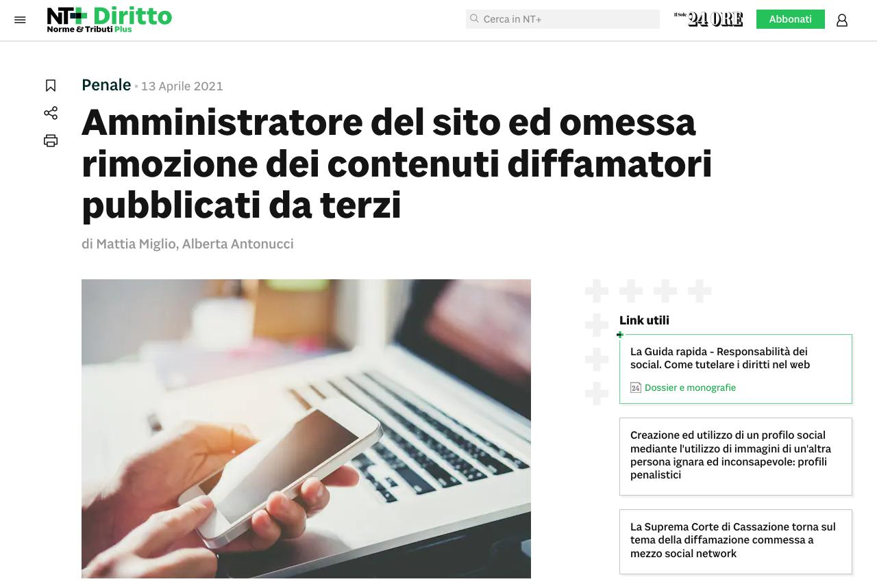 amministratore sito ed omessa rimozione contenuti
